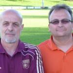 Pierre Saunier (à g.) coach des Seniors 1 et Jean-François Zanol (à dr.), coach de la réserve.