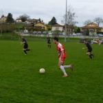 L'action du match à la 12ème minute : Sébastien Araujo va croiser par-dessus la défense pour François Buard...